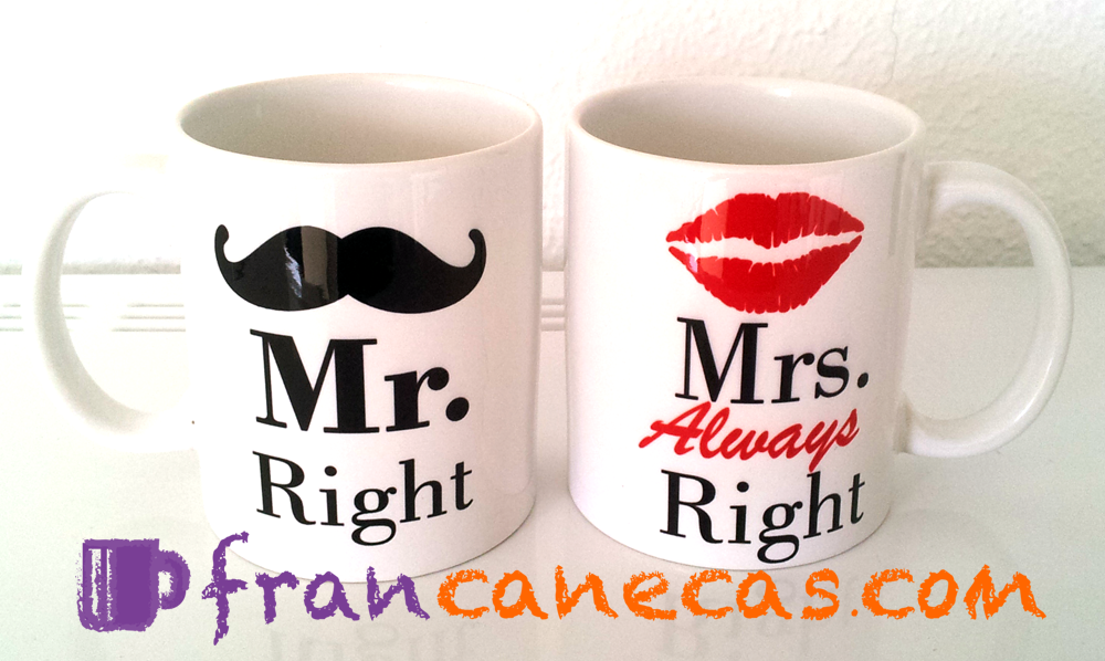 caneca personalizada mr right e mrs always right